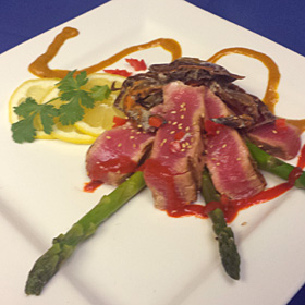Grilled Sesame Ahi Tuna with Roasted Garlic Soft Shell Crab