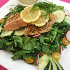 Grilled Lemon Pepper Salmon Salad with Strawberry Dill Vinaigrette